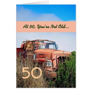 FUNNY Happy 50th Birthday - Vintage Orange Truck Greeting Card