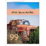 FUNNY Happy 99th Birthday Vintage Orange Truck 99A Large Greeting Card