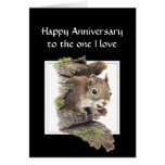 Funny  Happy Anniversary, One I love Squirrel Greeting Cards