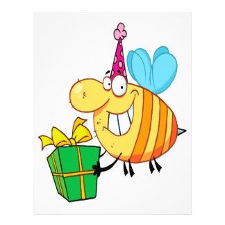 "funny happy birthday bumble bee cartoon character 8.5"" x 11"" flyer"