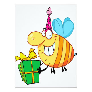 funny happy birthday bumble bee cartoon character 6.5x8.75 paper invitation card