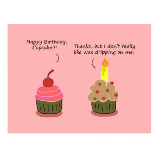 Funny Happy Birthday Card: Cupcake Candle Woes Postcard