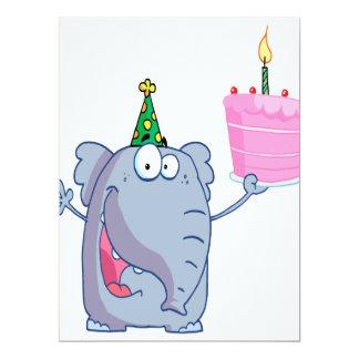 funny happy birthday elephant cartoon 6.5x8.75 paper invitation card