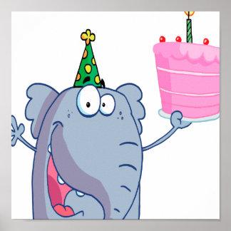 funny happy birthday elephant cartoon poster