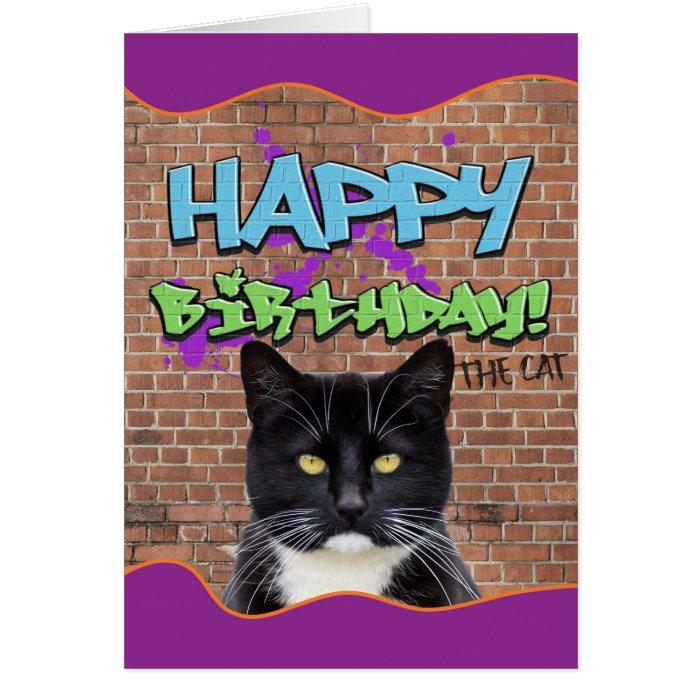Funny Happy Birthday Graffiti from The Cat Card – Happy Birthday from the Cat Card