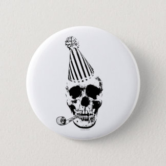Funny Happy Birthday Party Hat Skull Button