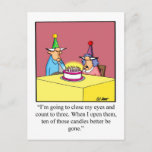 """Funny Happy Birthday Postcard<br><div class=""""desc"""">Enjoy sending this hilarious Happy Birthday postcard to friends and family for their next birthday celebration. With their funny cartoon characters,  witty punch lines,  and wonderfully bold bright color these postcards are a great way to share your sense of humor too!  They also make great birthday invitations.</div>"""