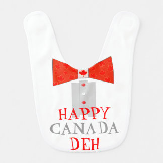 Funny Happy Canada Day (Deh) Bowtie Tuxedo Bib