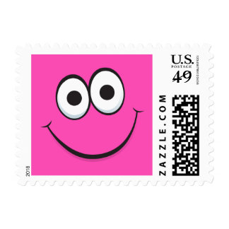 Funny happy cartoon face pink postage stamps