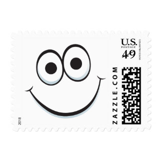 Funny happy cartoon face postage stamps