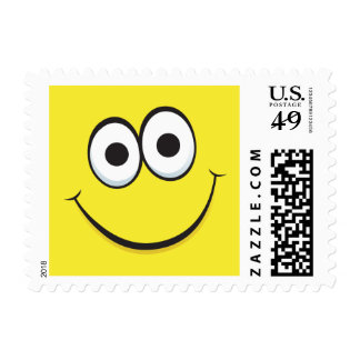 Funny happy cartoon face yellow postage stamps