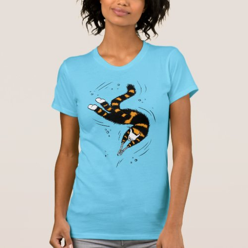 Funny Happy Cat With Skeleton Hands Swimming T_Shirt