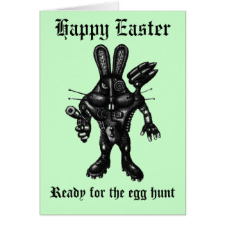 Funny Happy Easter card with cyborg bunny
