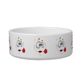 Funny Happy Face Blue Eyes Pet Water Bowls