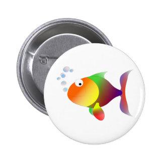 Funny happy fish button