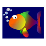 Funny happy fish postcard