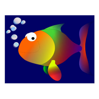 Funny happy fish post cards