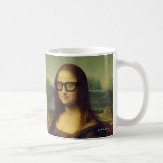 Funny Happy Hipster Glasses Mona Lisa da Vinci Coffee Mug