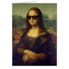 Funny Happy Hipster Mona Lisa in Shades Card