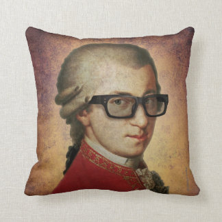 Funny Happy Hipster Mozart Throw Pillow