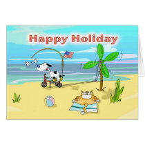 Funny happy holiday labor day card, Fat Cat and Du