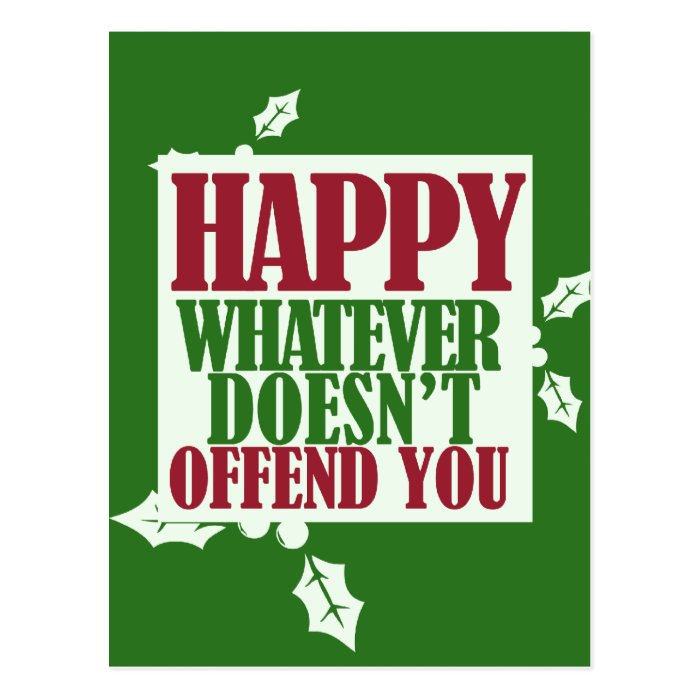 funny happy holidays vs merry christmas humor postcard
