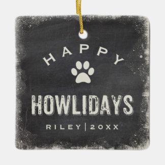 Funny Happy Howlidays Dog Photo and Name Custom Ceramic Ornament