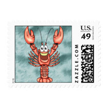 Funny Happy Lobster Postage