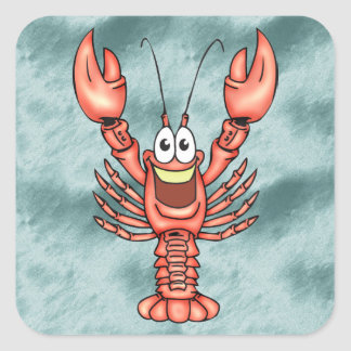 Funny Happy Lobster Square Stickers
