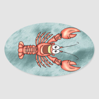 Funny Happy Lobster Oval Sticker