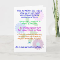 Funny Happy Mother's Day for all she endured... Card