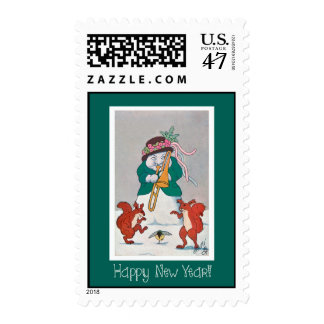 Funny Happy New Year Snowman With Squirrels Stamp