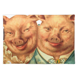 Funny Happy Pig Couple Fabric Print Placemat
