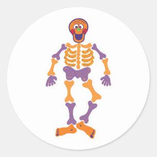 funny happy skeleton classic round sticker
