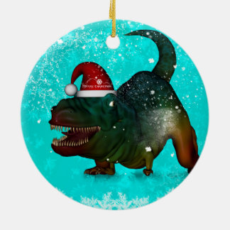 Funny, happy  T-rex wish you a merry christmas Ceramic Ornament