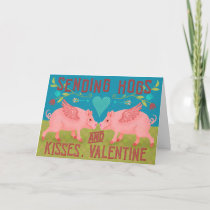 Funny Happy Valentines Day Cute Hogs Pig Pun Holiday Card