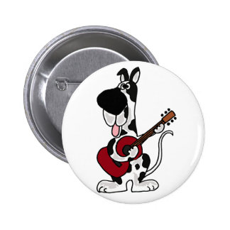 Funny Harlequin Great Dane Playing Guitar Button
