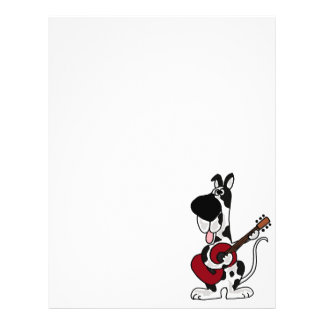 Funny Harlequin Great Dane Playing Guitar Personalized Letterhead