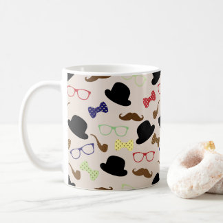 Funny Hat, Glasses, Moustache, & Bow Ties Pattern Coffee Mug