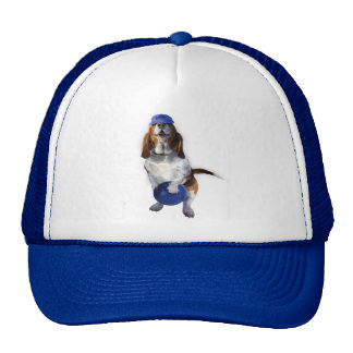Funny hat with a bowling hound dog