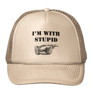 """Funny hat with funny """"I'm with stupid"""" text"""
