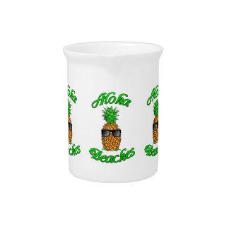 Funny Hawaiian Pineapple Aloha Beaches Drink Pitcher