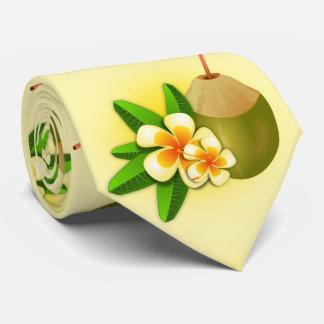 Funny hawaiian tropical coconut milk. yellow tie
