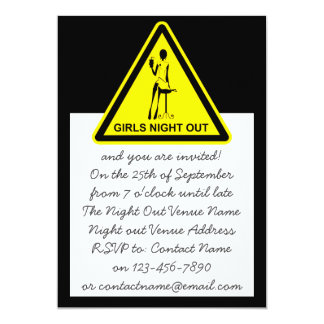 Funny Hazard Sign Girls Night Out - Black & Yellow Card