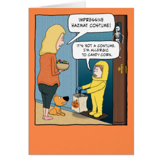 Funny Hazmat Suit Halloween Card