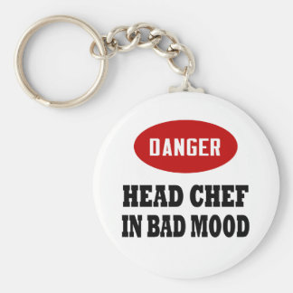 Funny Head Chef Basic Round Button Keychain