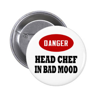 Funny Head Chef Pinback Buttons