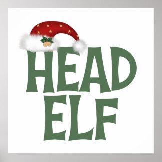 Funny Head Elf Christmas Gift Poster