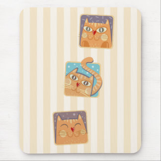 Funny Heart Nose Cats Mousepad
