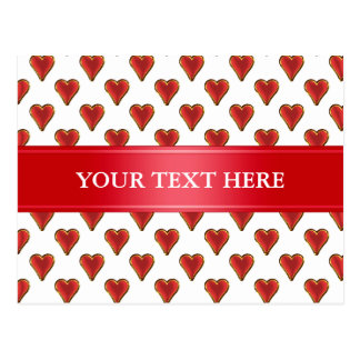 Funny Heart Pattern gold red + your backgr. & text Postcard